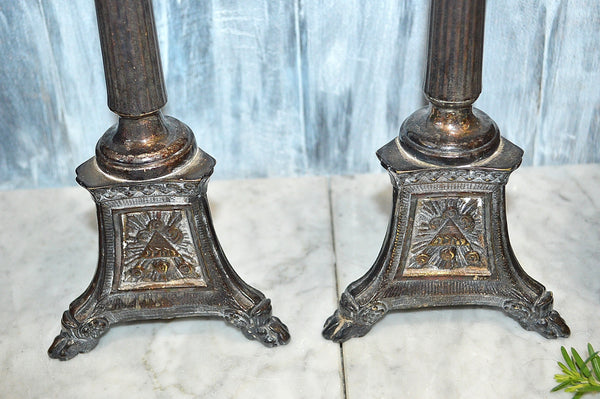 Antique Pair Silverplated French Church Altar Candle Holders Religious Sacred Heart
