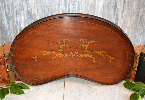 Antique Edwardian Wood Decorative Mahogany Kidney Inlaid Tray Brass Handles