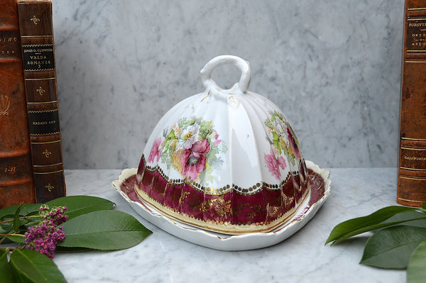Antique RW Bavaria Covered Cheese Dome Porcelain Floral Transferware