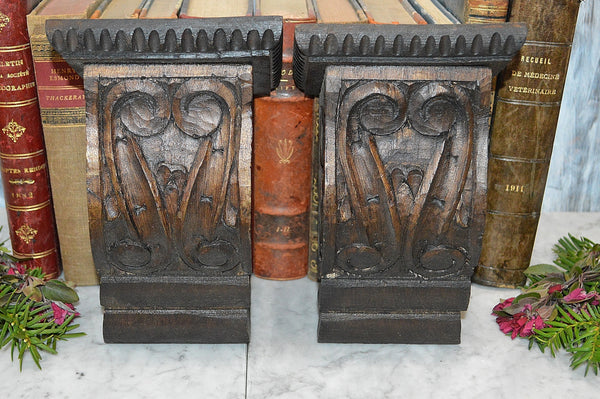 Antique Pair Carved Wood Corbels Architectural Brackets Black Forest Trim 2 pair Available