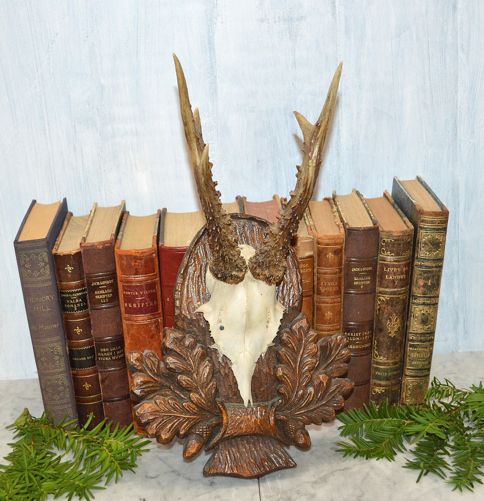 Vintage German Deer Antler Trophy Mount Black Forest Shield Carved Wood Plaque
