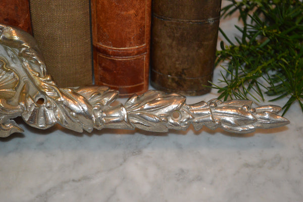 Antique Large French Silver Brass Pediment Shell Motif Mount Hardware