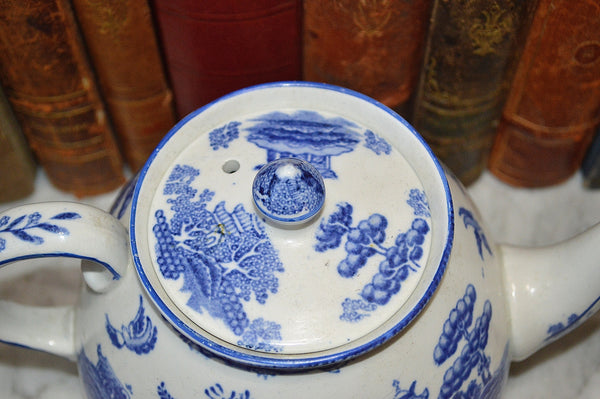 Antique English Blue Willow Transferware Teapot Gibson & Sons Burslem