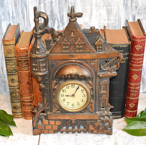 Antique Castle Mantle or Shelf Clock Heavy Copper Cast Iron