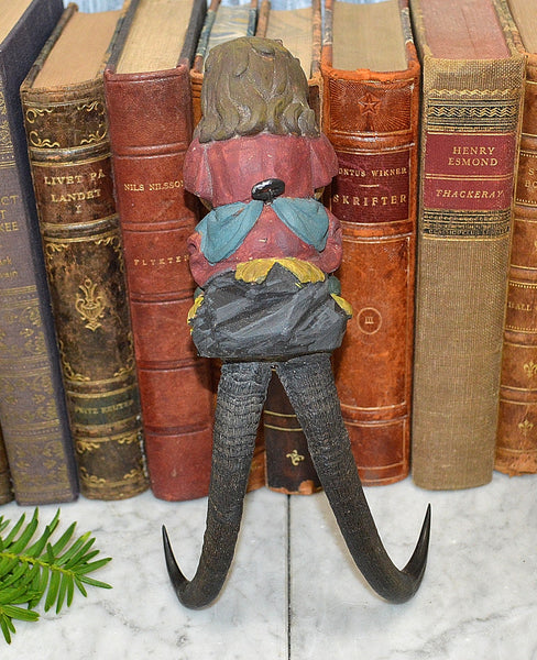 Antique German Black Forest Child Figure Chamois Horns Hook Carved Wood