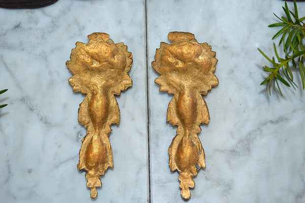 Antique French Small Gilt Pediment Pair Bronze Ormolu Mounts Floral Leaves