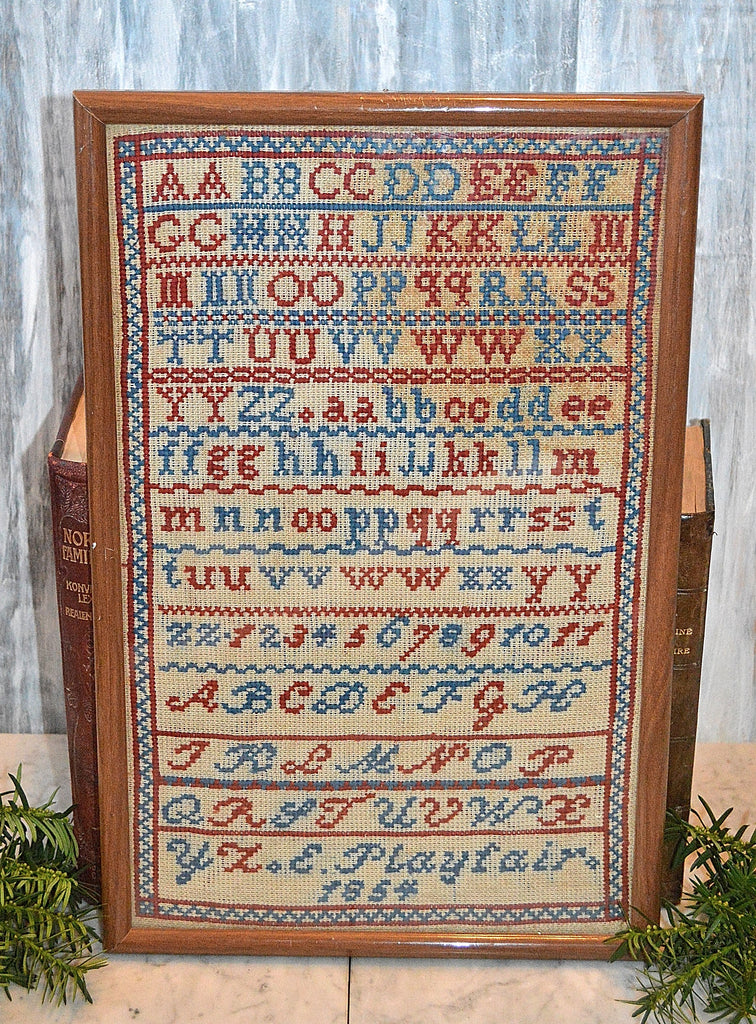 Antique English American Sampler Framed 1854 Alphabet Playfair