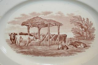 Antique Spode Copeland Duncan English Platter Rural Scene Brown Transferware