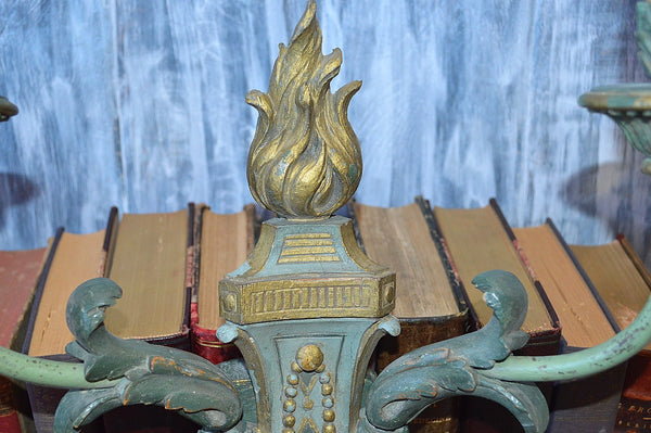 Antique French Light Fixture Sconce Wood Empire Flame Gilded Turquoise