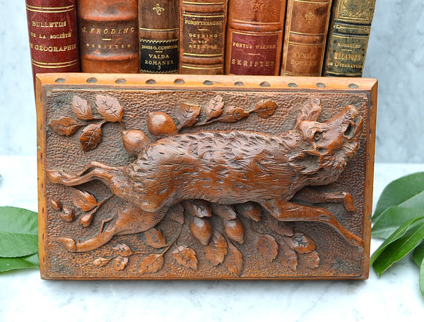 Antique French Carved Wood Wild Boar Hunt Scene Black Forest Plaque