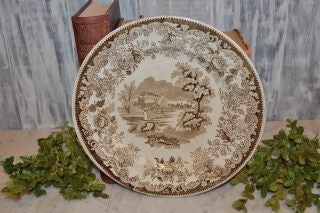 Antique Brown Transferware Plate Floral Village Scene Staffordshire