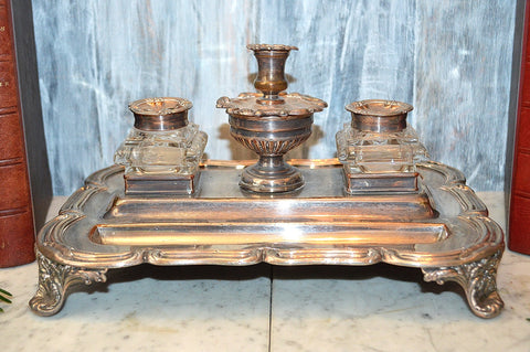 Antique Sheffield Victorian Inkwell Silver Plated Dual Pot Candle Holder
