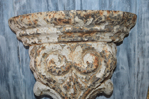 Antique Large Cast Iron Corbel Architectural Bracket Chippy White Paint