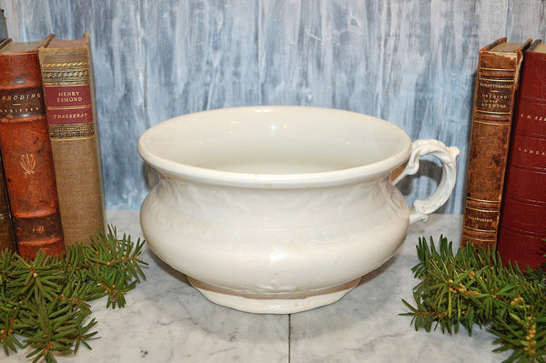 Antique White Chamber Pot Semi Porcelain German Dresden Laurel Wreath Mark