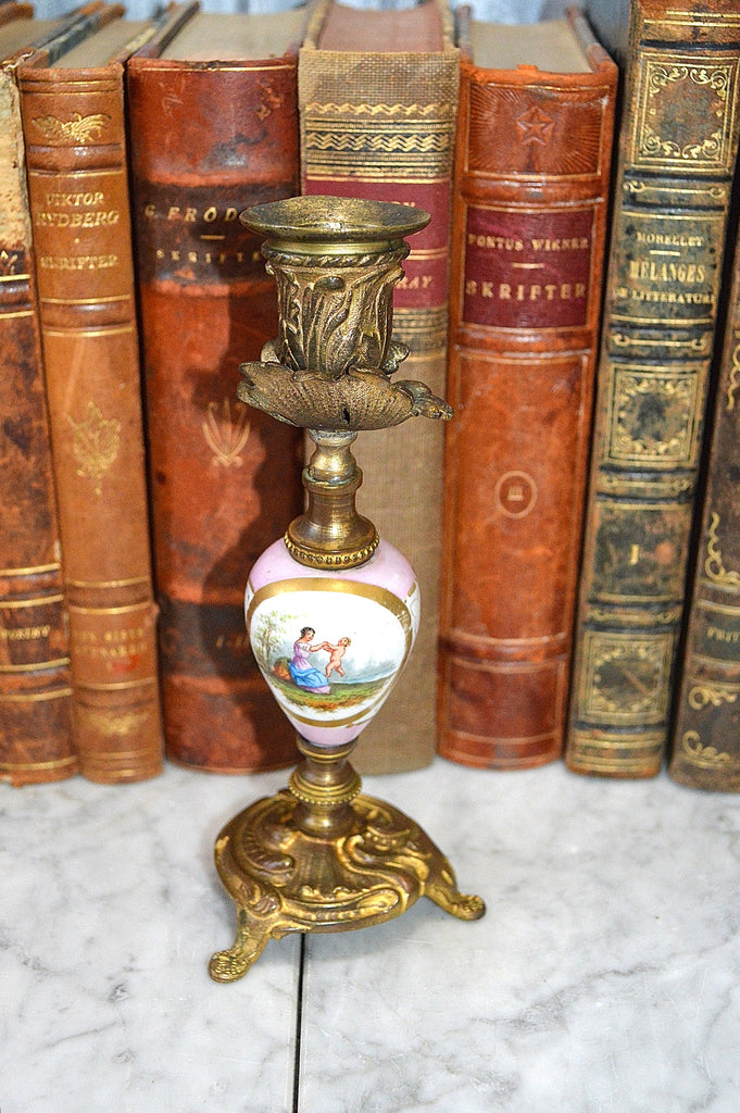 Antique French Sevres Pink Porcelain Gilt Ormolu Candle Holder L Henry