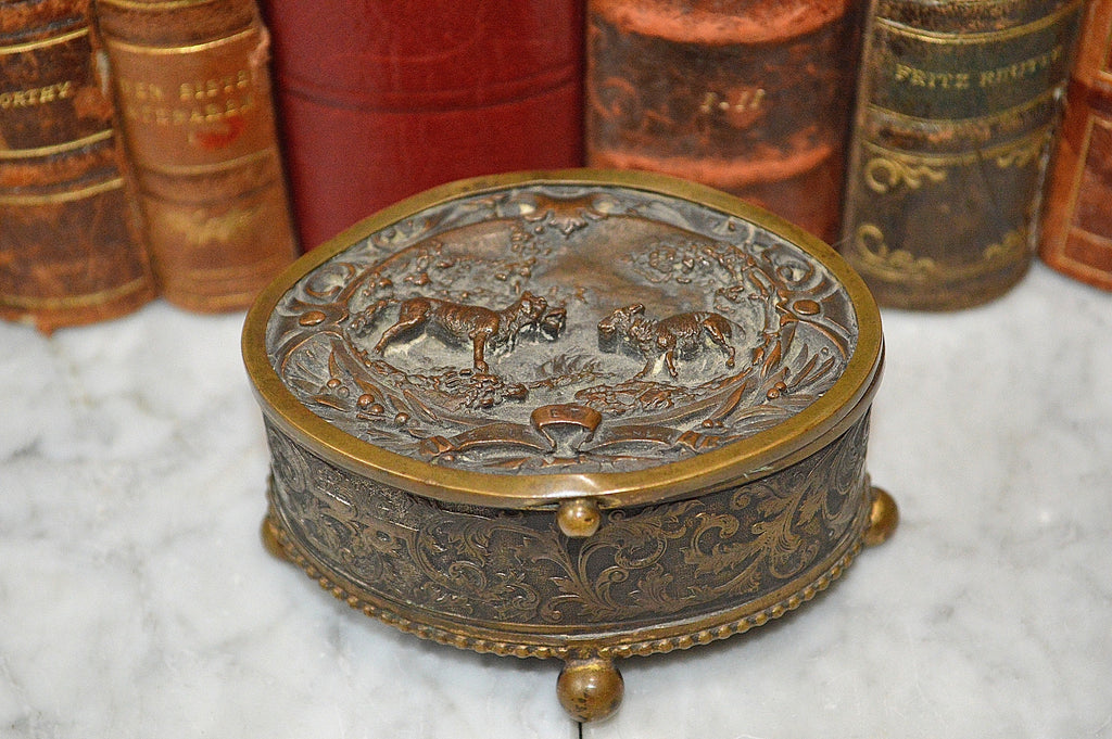Antique Small French Bronze Relief Jewelry Trinket Casket Box Wolf and Lamb