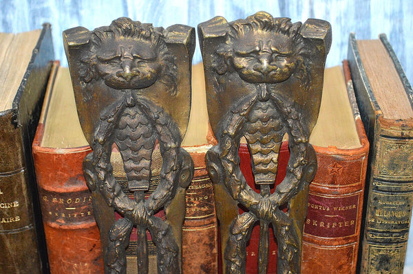 Antique Pair Of French Lion Head Pediment Mounts Bronze Ormolu Hardware 2 Pair Available
