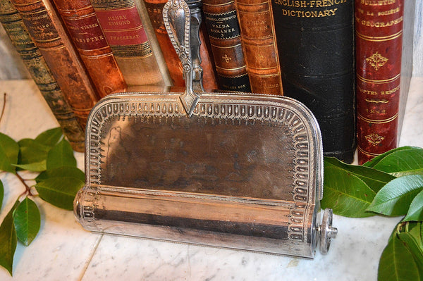 Antique English Crumber Butler Roll Brush Silver Plate Chased Crumb Sweeper