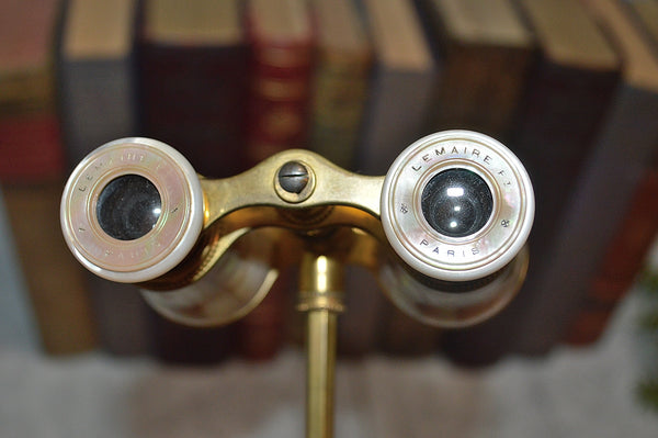 Antique French LeMaire FI Opera Glasses Mother of Pearl Telescope Handle