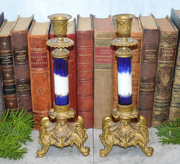 Antique French Blue Porcelain Sevres Style Candle Holders Gilt Bronze