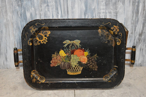 Antique Black Tole Tray Fruit Basket with Handles