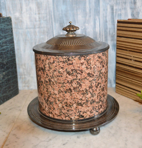 Antique English Biscuit Barrel Jar Pink Granite Silver Plate Footed