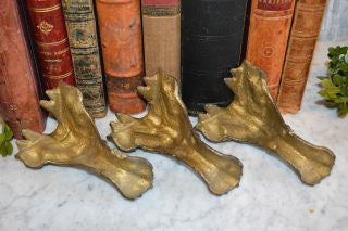 Antique Gilded Iron Paw Feet Gargoyle Griffin Faces Set of 3