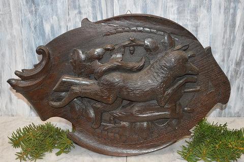 Antique German Black Forest Fox Hunt Scene Large Plaque Carved Wood Trophy