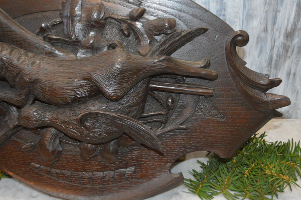 Antique German Black Forest Hunt Scene Large Plaque Carved Wood Trophy
