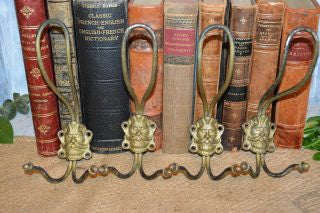 Antique French Iron Figural Greenman Gothic Hooks - 3 Available