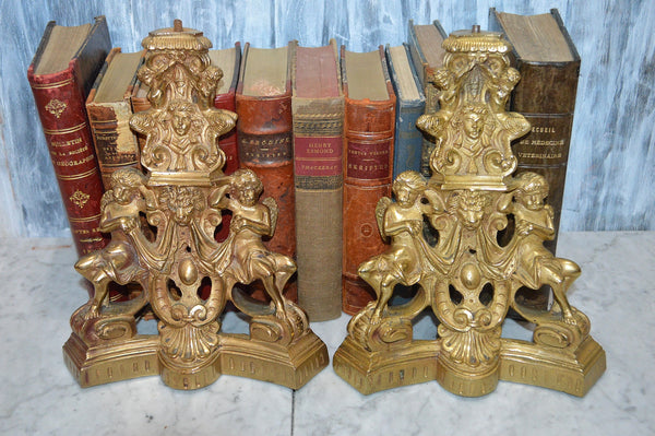 Antique French Brass Pair Cherub Fauns Figural Fireplace Chenets Andirons