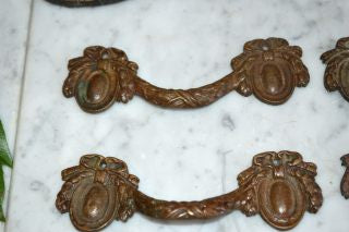 Antique French Drawer Pulls Handles Set of 4 Bronze Bow Ribbon Hardware
