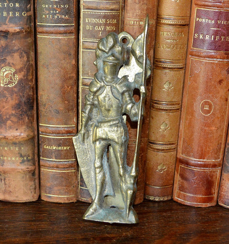 Antique Door Knocker Knight In Armor English Brass Hardware - Antique Flea Finds
