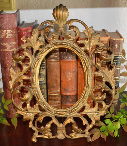 Antique French Large Frame Ormolu for Photo Art Mirror Easel Back