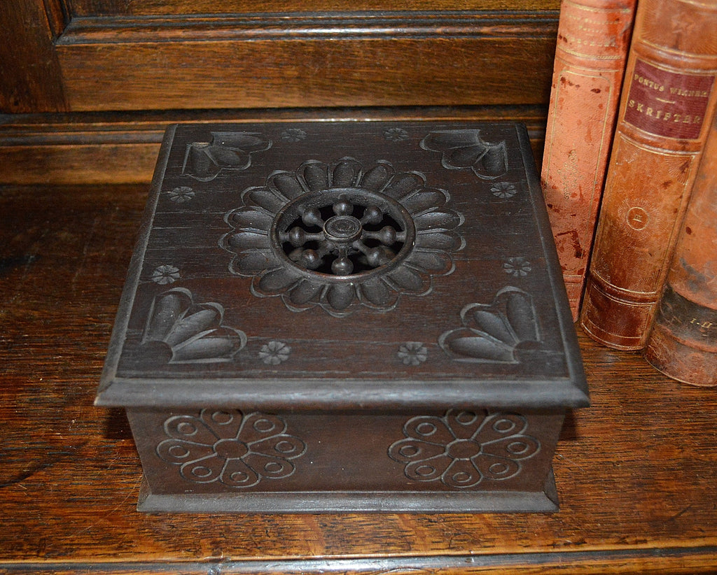 Vintage French Carved Wood Breton Jewelry Storage Box - Antique Flea Finds - 1