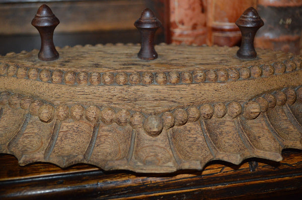 Antique German Carved Wood Triple Peg Hook Wall Rack - Antique Flea Finds - 3