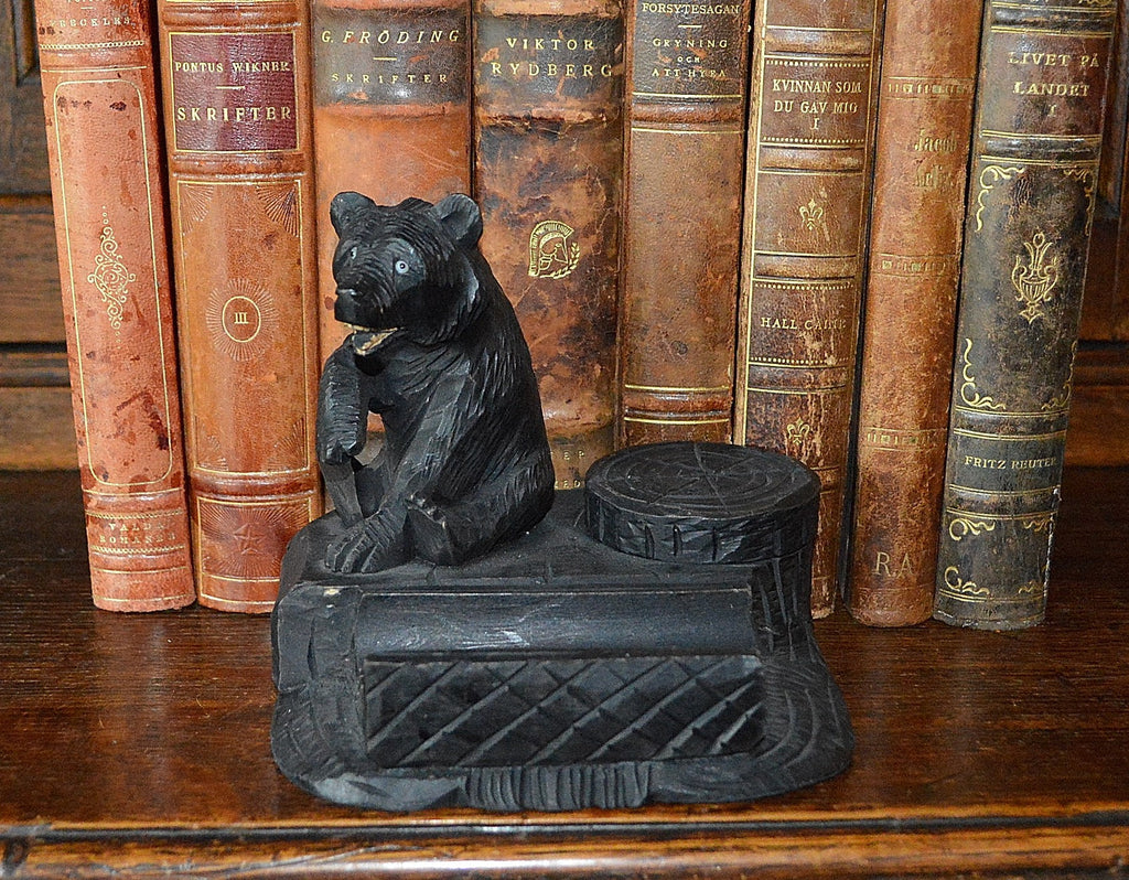 Antique German Black Forest Inkwell Pen Rest Tray Carved Wood Bear - Antique Flea Finds - 1