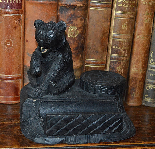 Antique German Black Forest Inkwell Pen Rest Tray Carved Wood Bear - Antique Flea Finds - 2