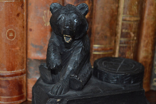 Antique German Black Forest Inkwell Pen Rest Tray Carved Wood Bear - Antique Flea Finds - 3