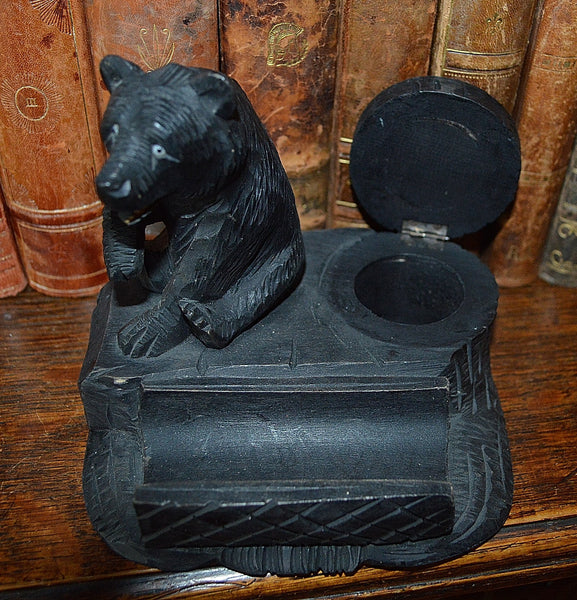 Antique German Black Forest Inkwell Pen Rest Tray Carved Wood Bear - Antique Flea Finds - 4