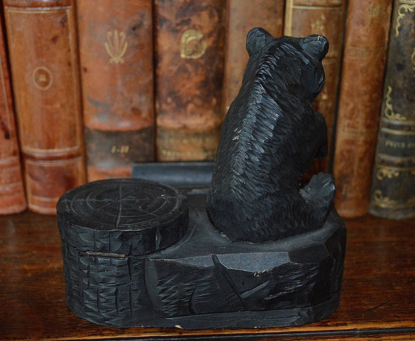 Antique German Black Forest Inkwell Pen Rest Tray Carved Wood Bear - Antique Flea Finds - 5