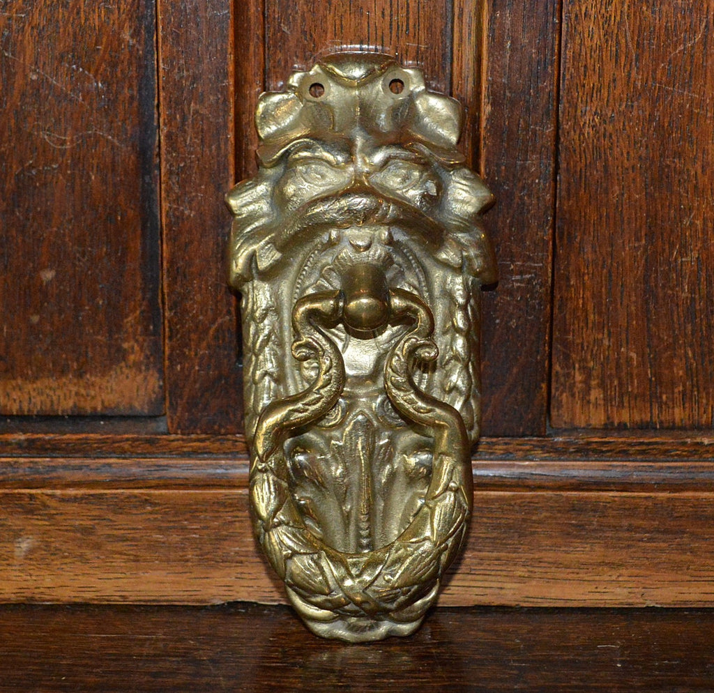 Antique French Lion Head Door Knocker Brass Hardware - Antique Flea Finds - 1