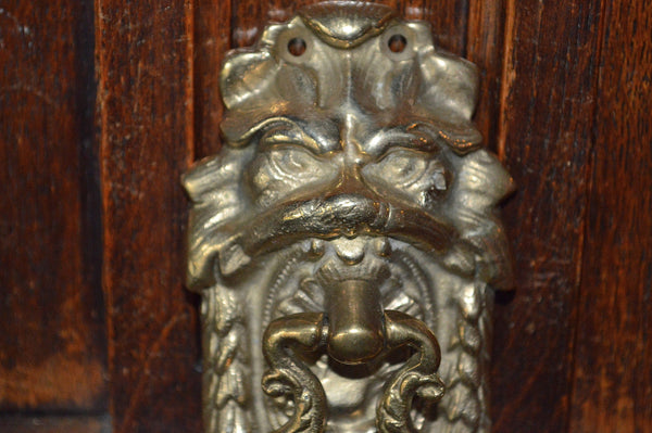 Antique French Lion Head Door Knocker Brass Hardware - Antique Flea Finds - 2