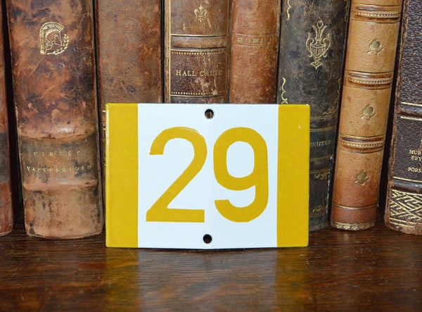 Vintage French Sign House Plaque Yellow Number 29 - Antique Flea Finds - 1