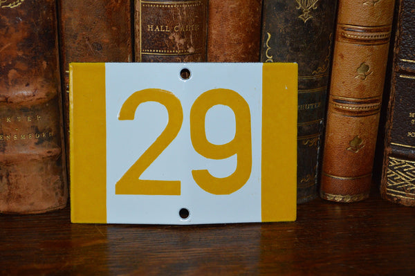 Vintage French Sign House Plaque Yellow Number 29 - Antique Flea Finds - 2
