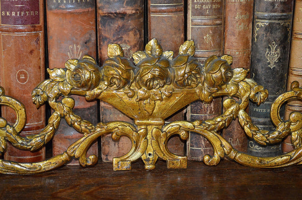 Antique French Pediment Ormolu Bronze Floral Roses Vase - Antique Flea Finds - 2