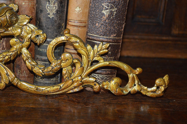 Antique French Pediment Ormolu Bronze Floral Roses Vase - Antique Flea Finds - 4
