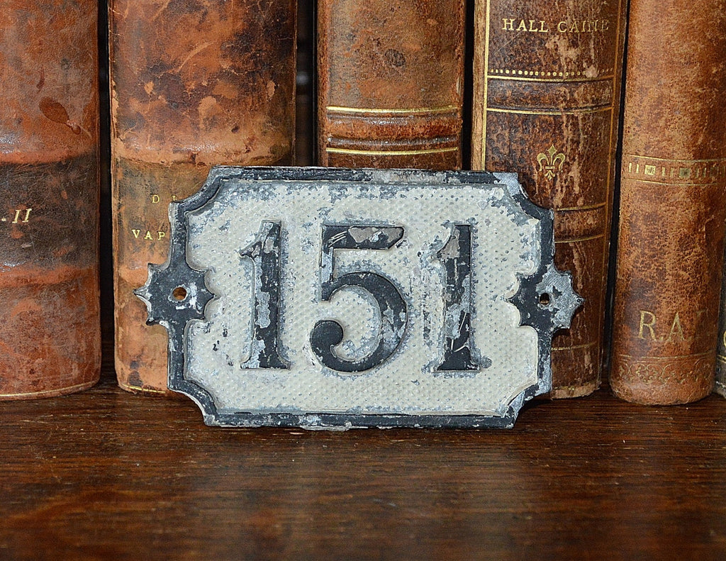 Antique German House Number 151 Plaque Mount - Antique Flea Finds - 1