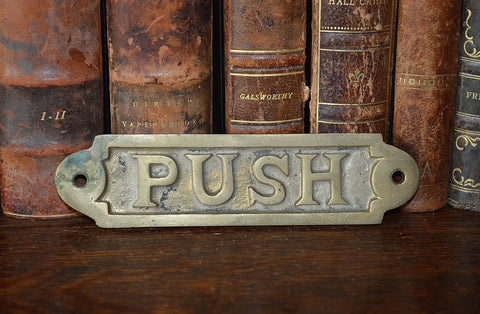 Antique Push Sign Brass Hardware - Antique Flea Finds - 1
