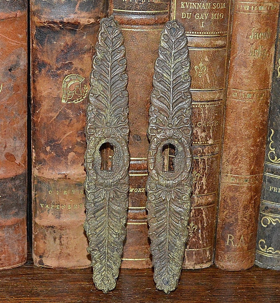 Antique French Vertical Escutcheon Pair Bronze Keyholes - Antique Flea Finds - 1